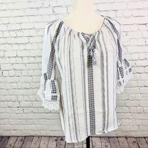Style & Co 3/4 Sleeve Blouse Crochet-Trim Bell on